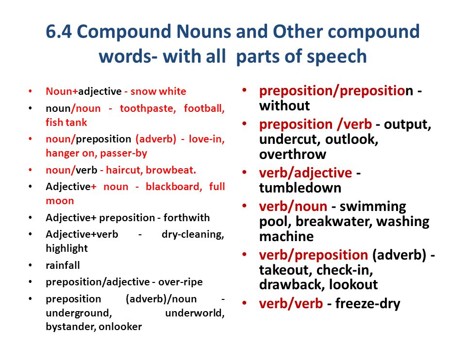 Compound Nouns And Other Compound Words With All Parts Of S Ch
