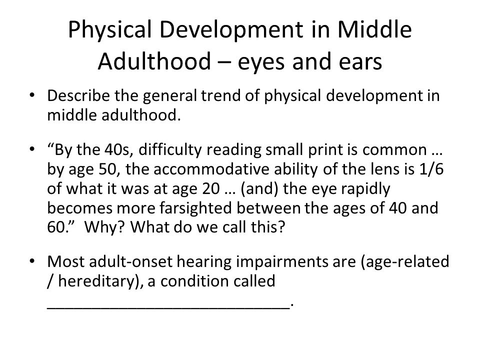 development of middle adults Cognitive