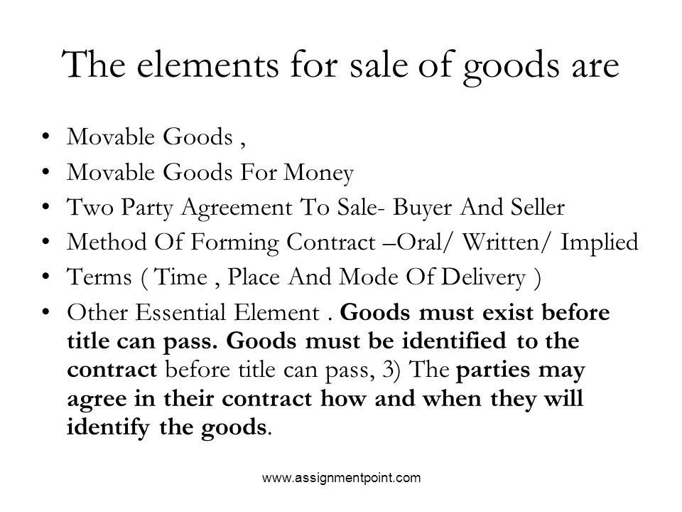 Sale Of Goods Act Business Contract Law Ppt Download