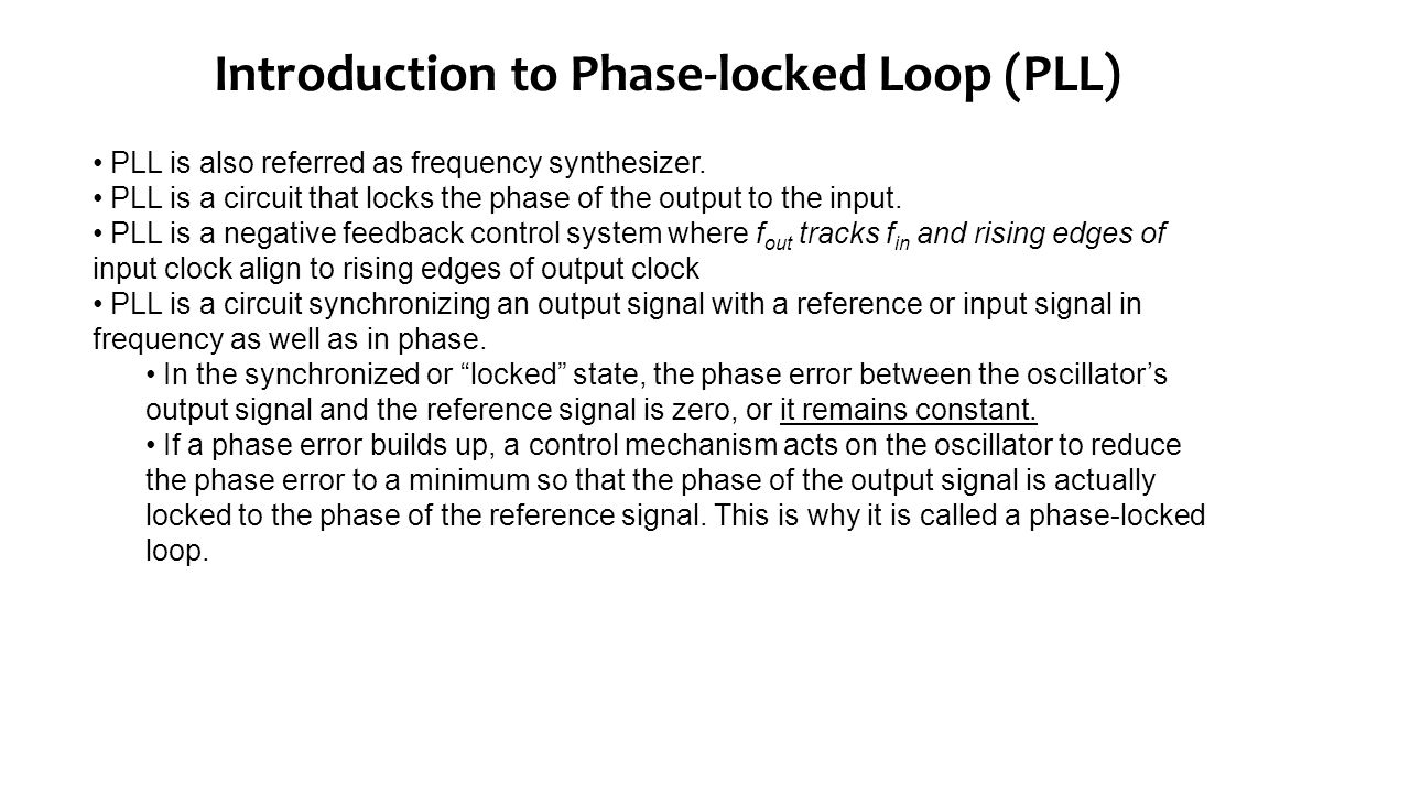 Basic Wide Range Phase Locked Loop Pll