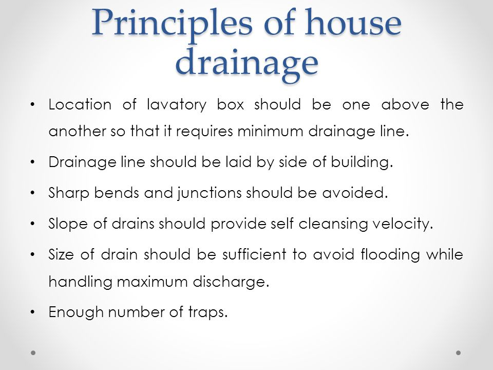 principles of house drainage