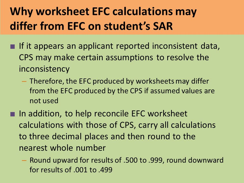 Efc Formula College Access Training Ppt Video Online Download. Why Worksheet Efc Calculations May Differ From On Student's Sar. Worksheet. Efc Worksheet At Mspartners.co