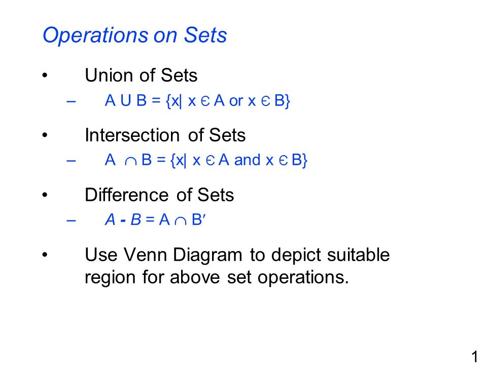 Operations On Sets Union Of Sets Intersection Of Sets Ppt Download