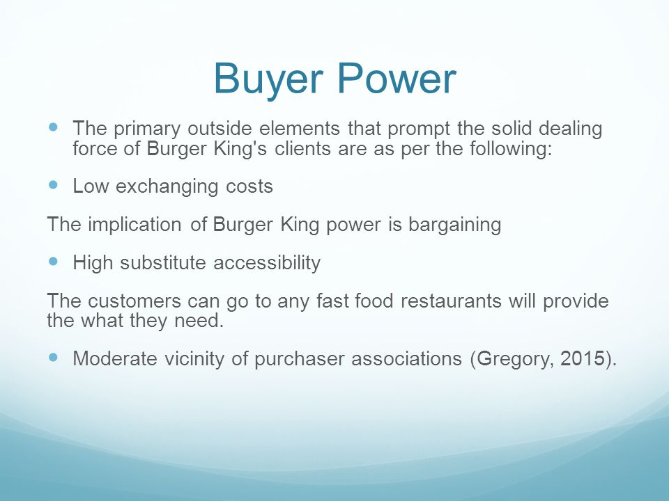 porter 5 force of fast food industry in india The first important force is the bargaining ability of buyers, who can choose to push down prices, not buy products, or switch retailers in the case of the fashion industry, buyer power is a relatively large force.