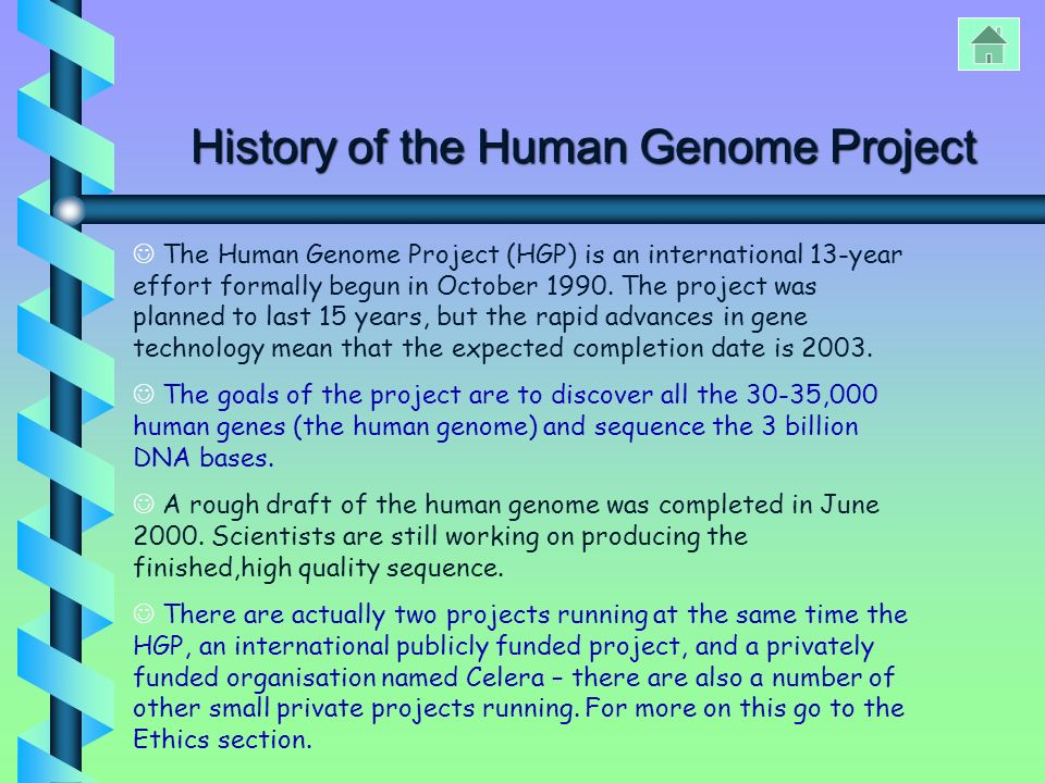 The human genome project.