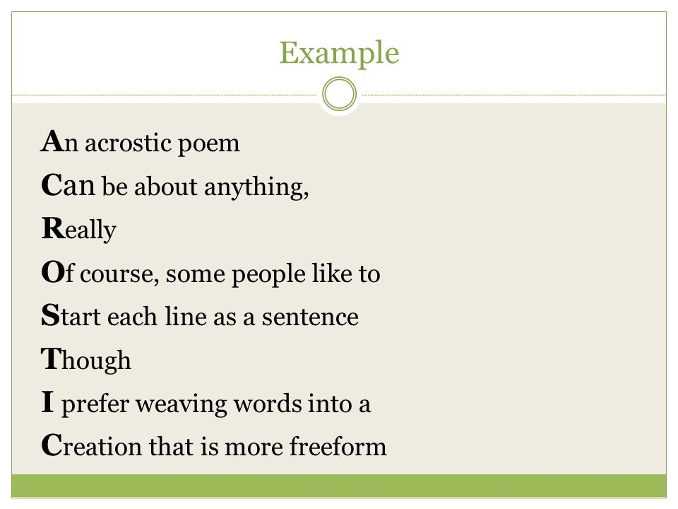Acrostic Poems Ppt Video Online Download