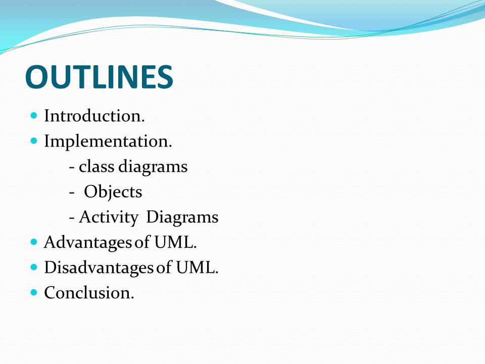 Welcome to our presentation unified modeling language uml ppt outlines introduction implementation class diagrams objects ccuart Choice Image