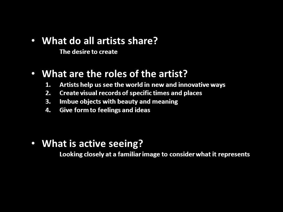 4 roles of the artist
