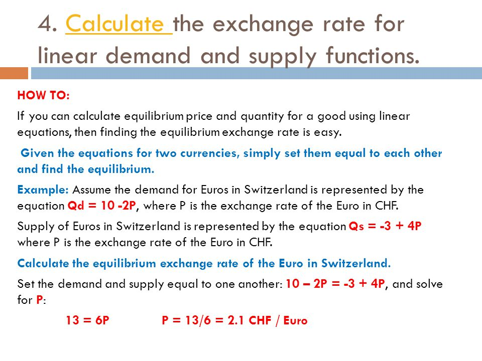 Calculate The Exchange Rate For Linear Demand And Supply Functions