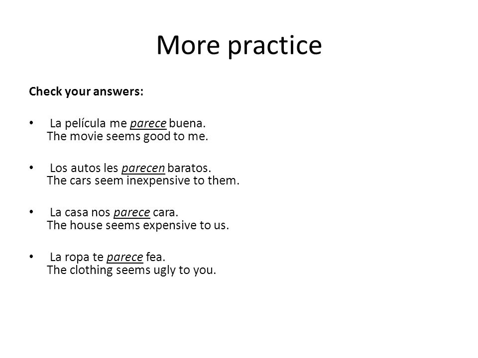 More practice Check your answers:
