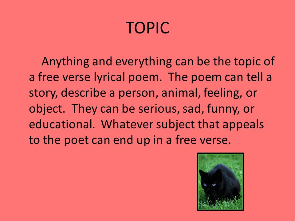 topics for a free verse poem