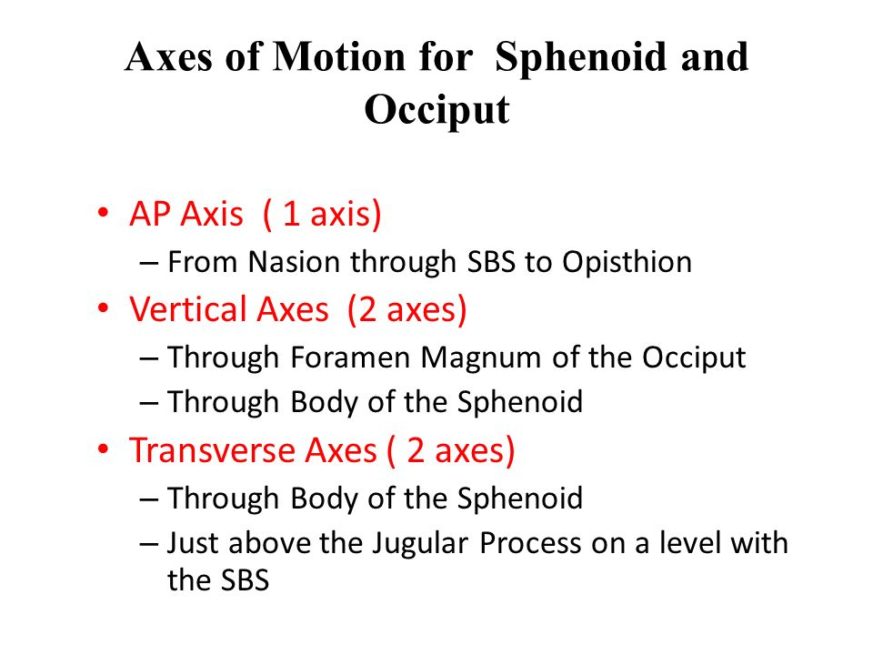 Axes of Motion for Sphenoid and Occiput