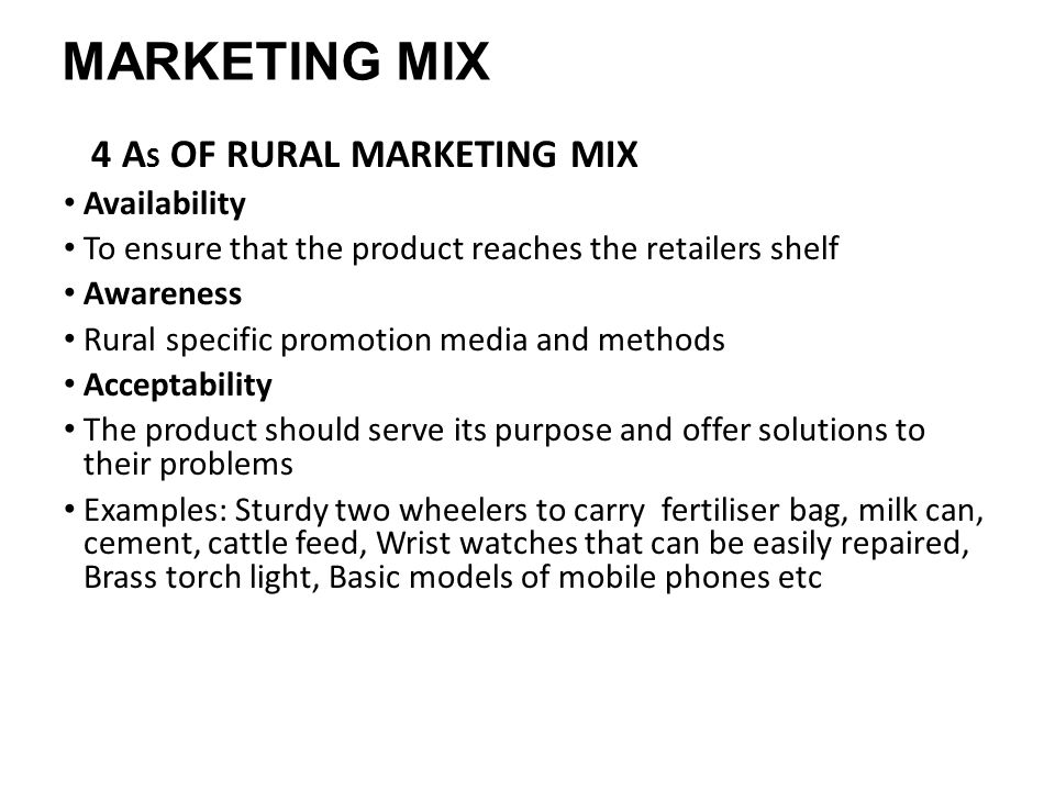 problems of rural marketing