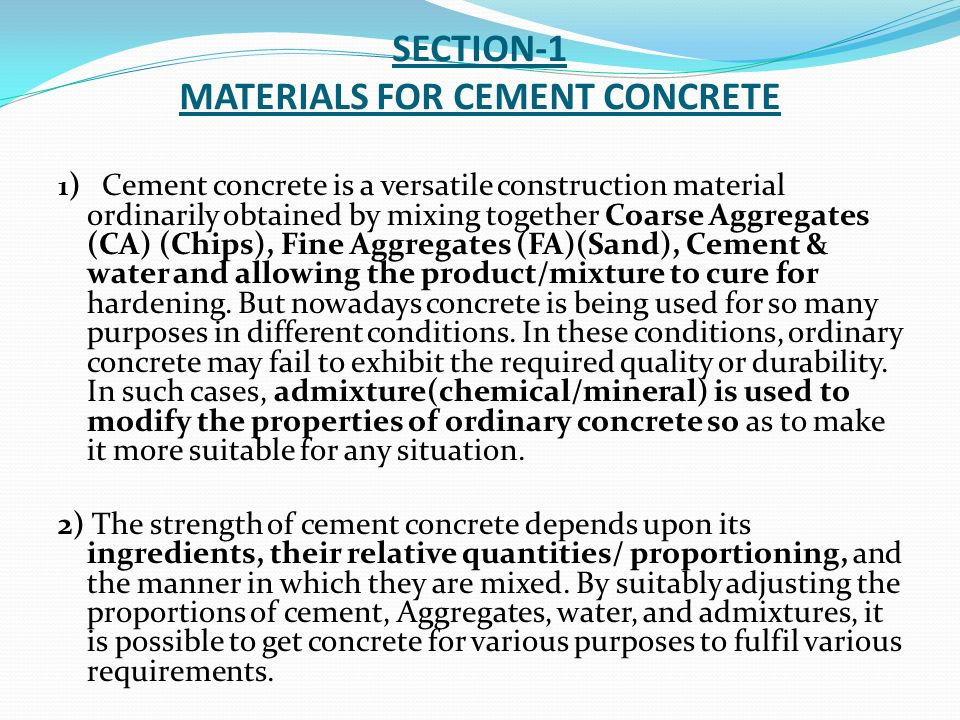 SPECIFICATIONS / QUALITY REQUIREMENTS PERTAINING TO CEMENT