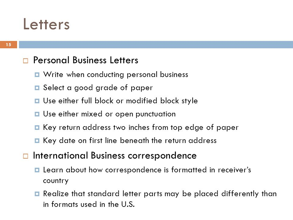 15 letters personal business letters