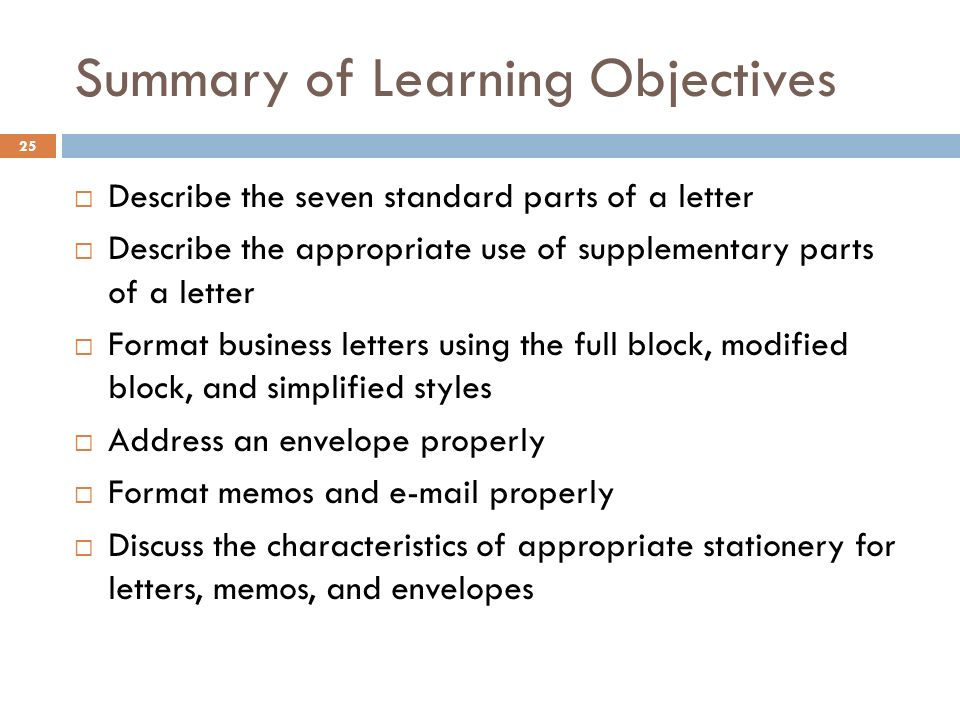 standard parts of business letter
