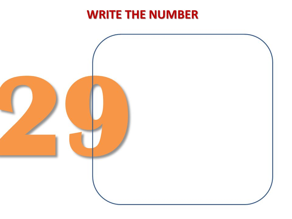 WRITE THE NUMBER 29