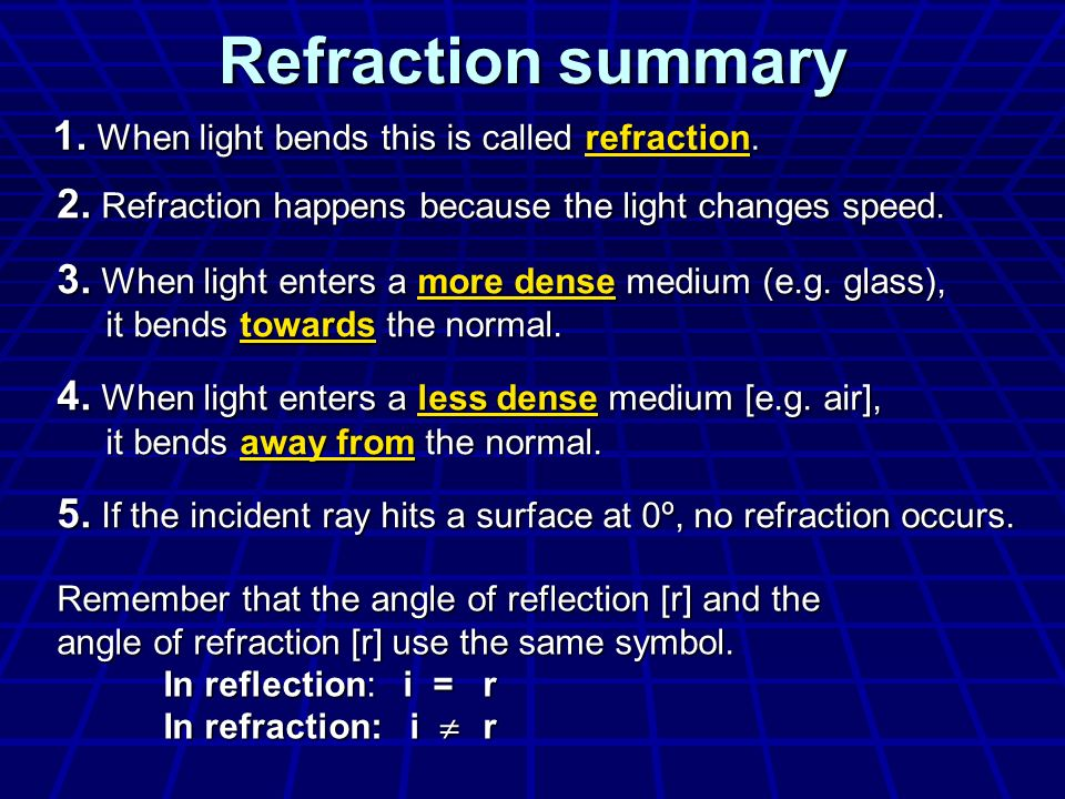 Refraction summary 1. When light bends this is called refraction.