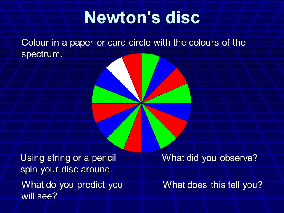 Newton s disc Colour in a paper or card circle with the colours of the spectrum. Using string or a pencil spin your disc around.