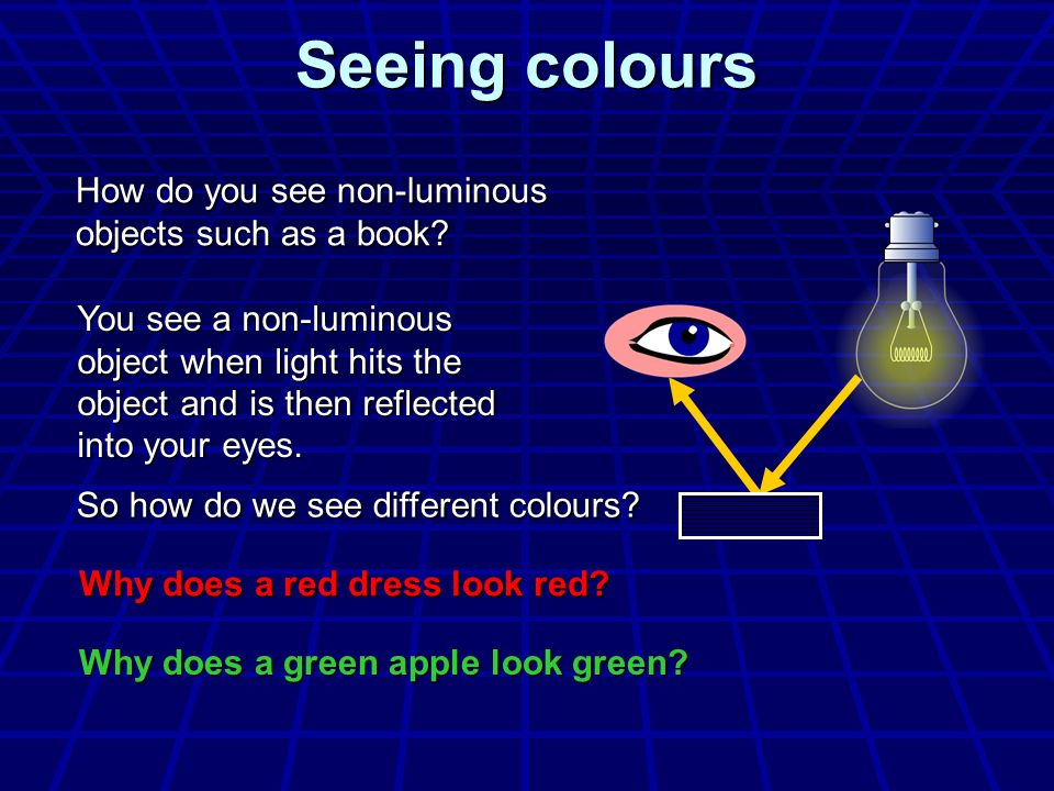 Seeing colours How do you see non-luminous objects such as a book