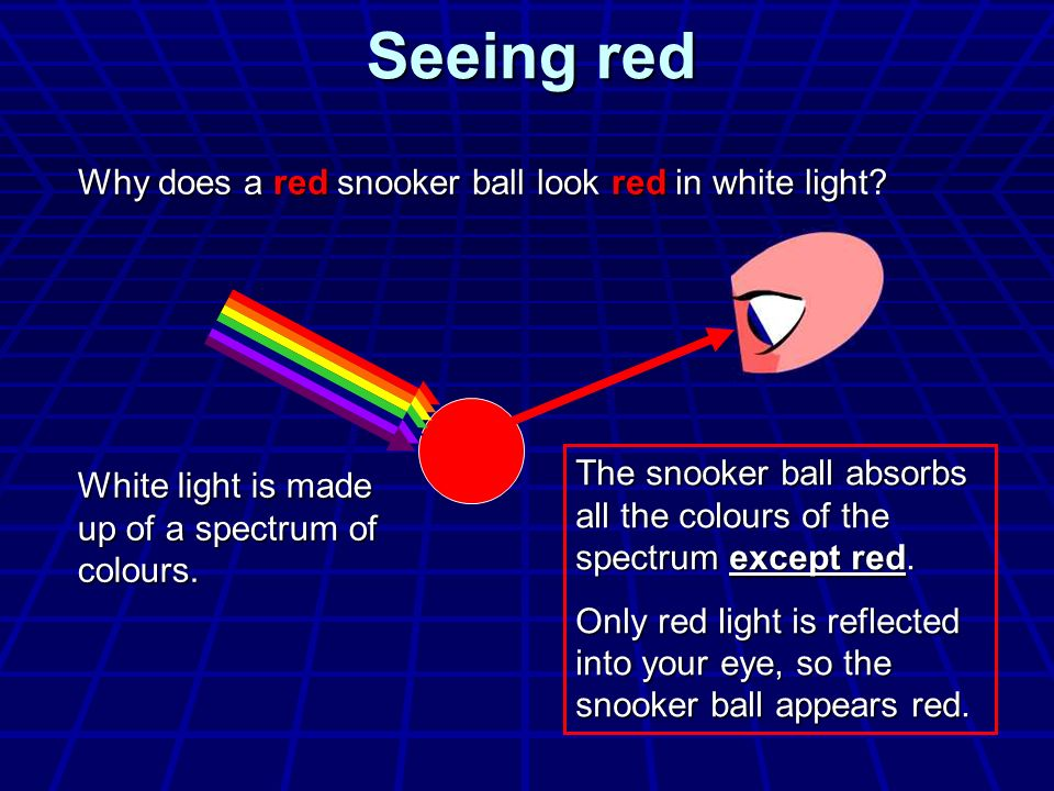 Seeing red Why does a red snooker ball look red in white light