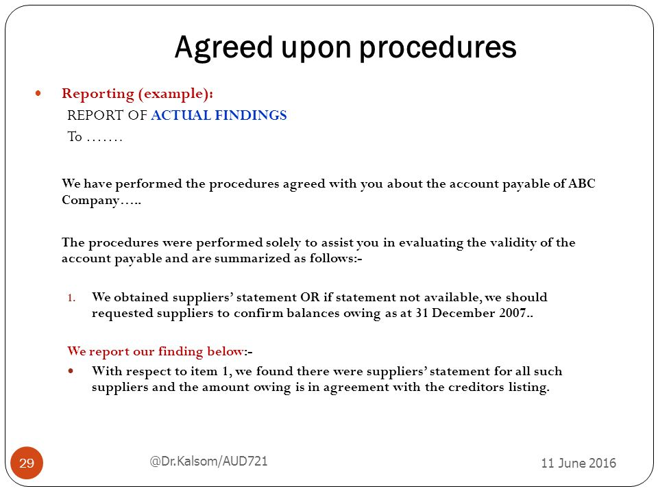 agreed upon procedures engagement letter chapter 5 audit related services ppt 20419 | Agreed upon procedures