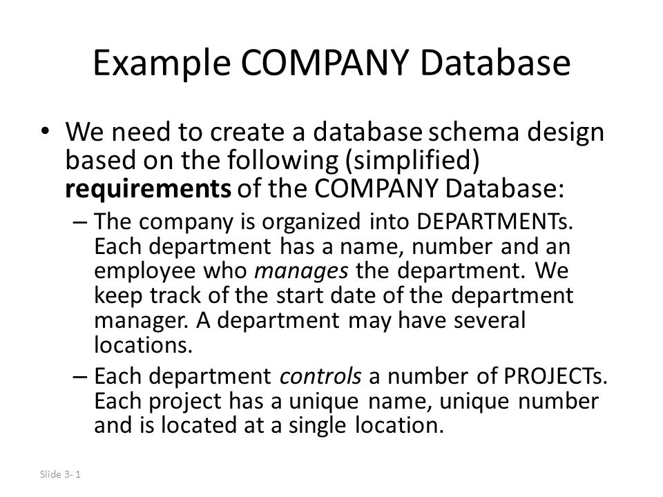 Example COMPANY Database Ppt Download - Database requirements document example