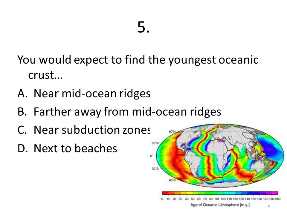 where is the youngest oceanic crust found