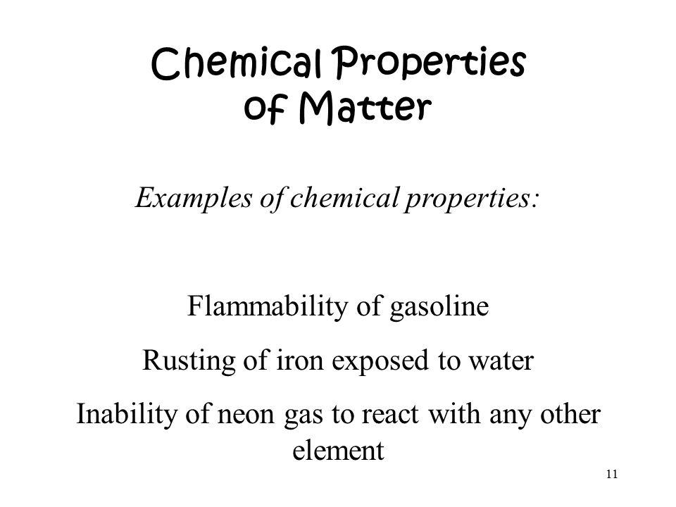Chemical Properties Of Matter
