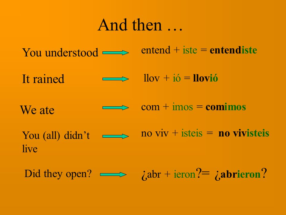 And then … ¿abr + ieron = ¿abrieron It rained We ate You understood