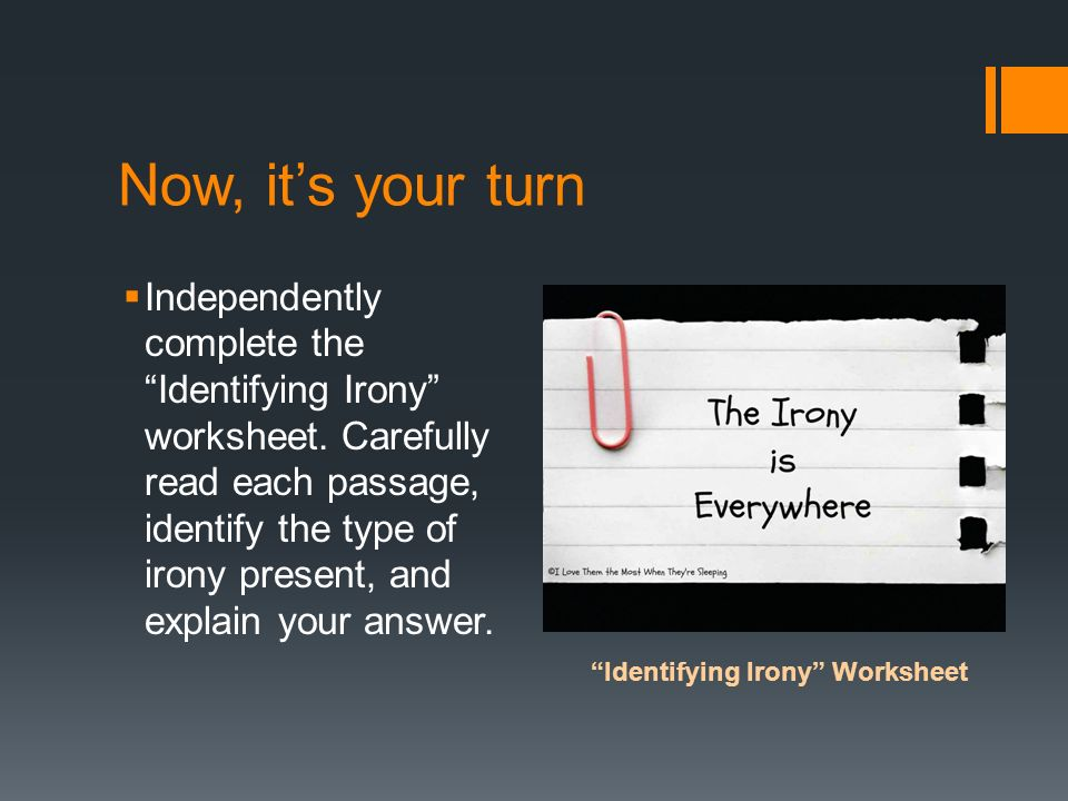 Identifying Irony Worksheet