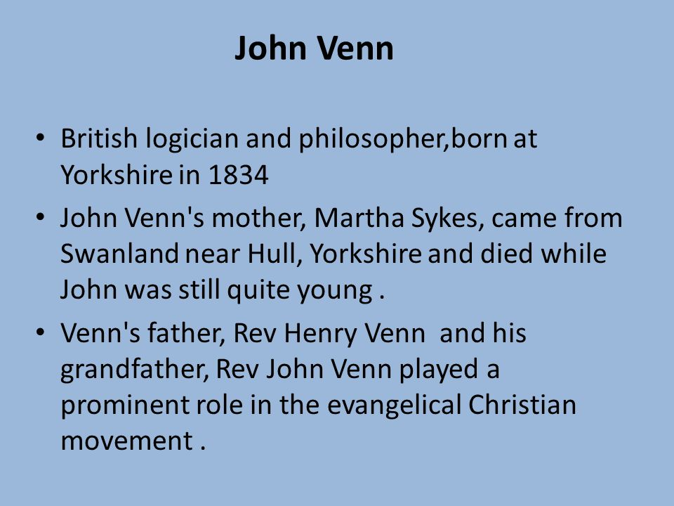 John Venn August 5 1834april 4 1923 Eray Saltik Ppt Video