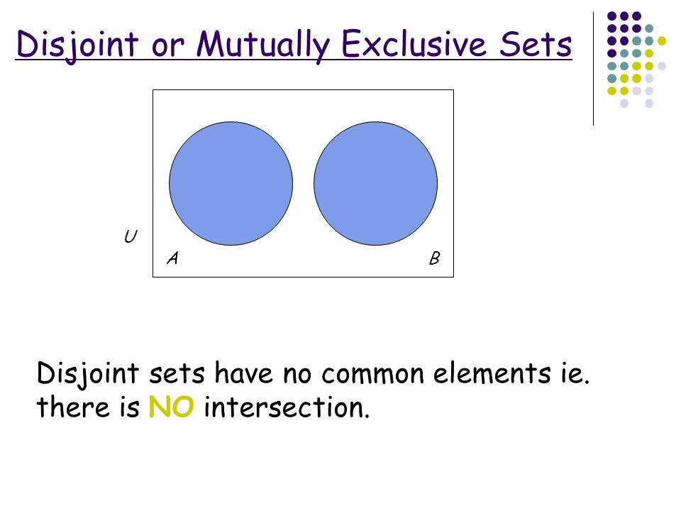 For A Venn Diagram The Intersection Of Two Sets Disjoint Schematic