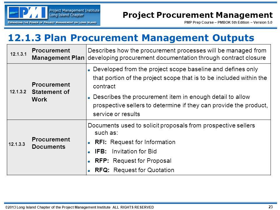 Plan Procurement Management Outputs