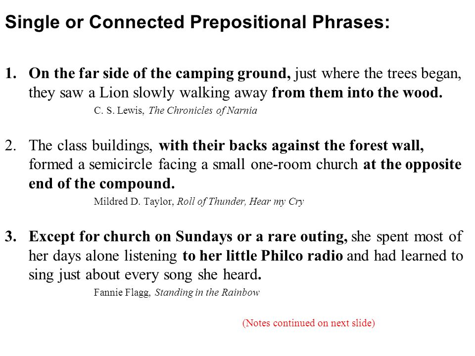 Single Or Connected Prepositional Phrases