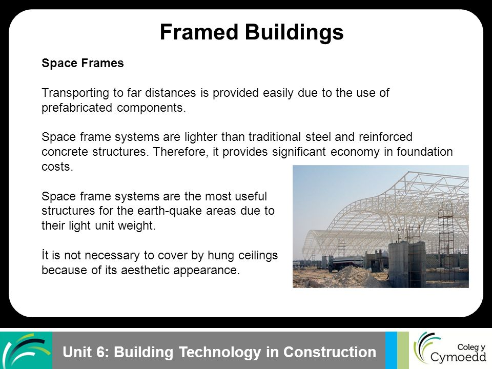 Framed Buildings Plane Frames Space Frames Skeleton Frames
