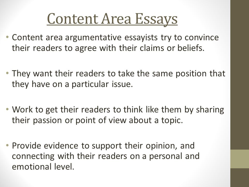 Thesis Statement For Descriptive Essay Content Area Essays Content Area Argumentative Essayists Try To Convince  Their Readers To Agree With Their Catcher In The Rye Essay Thesis also Thesis For Argumentative Essay Argumentative Essay Immersion  Ppt Video Online Download Thesis Statements For Essays