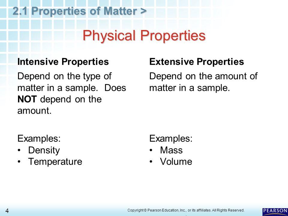 Physical Properties Intensive Properties Extensive Properties