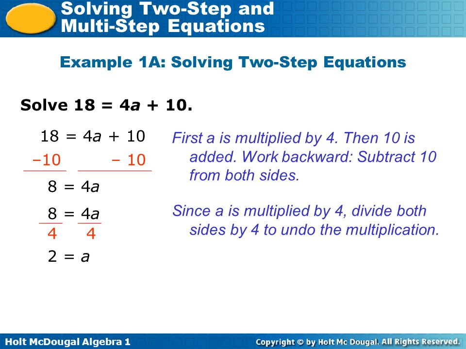Example 1A: Solving Two-Step Equations