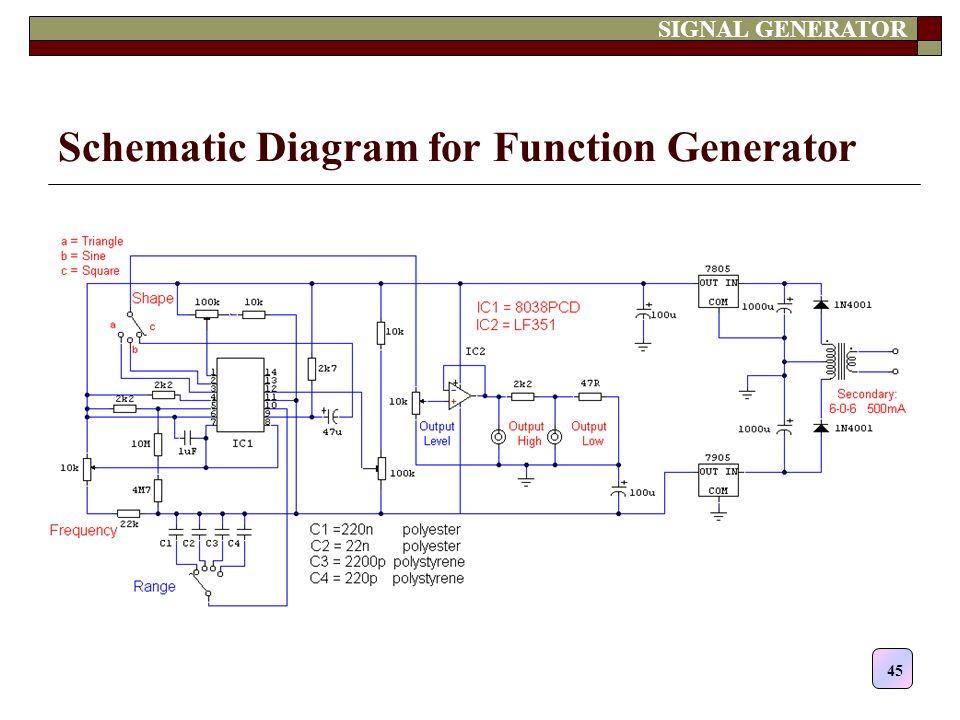 Circuit Diagram Of Function Generator   Contents Multimeter Oscilloscope Probes Signal Generator Ppt