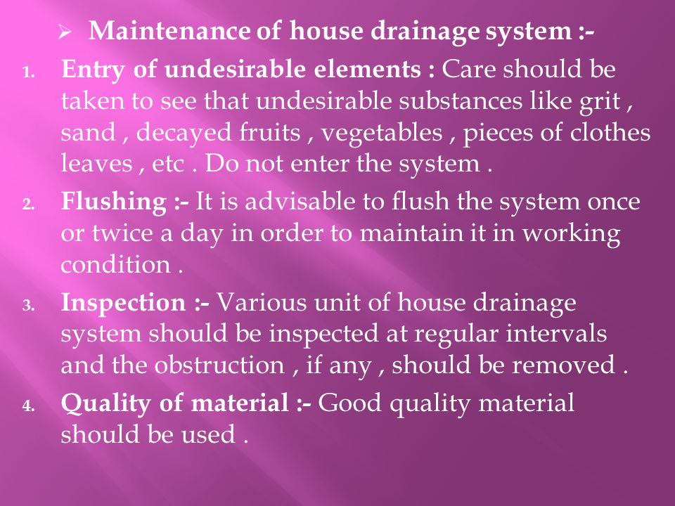maintenance of house drainage system