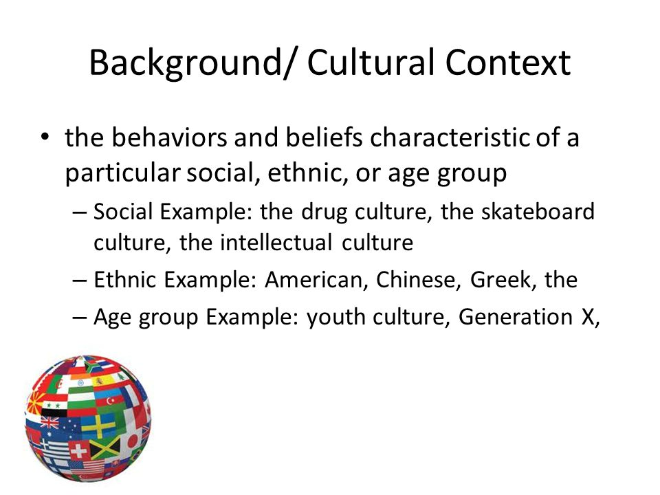 cultural background examples