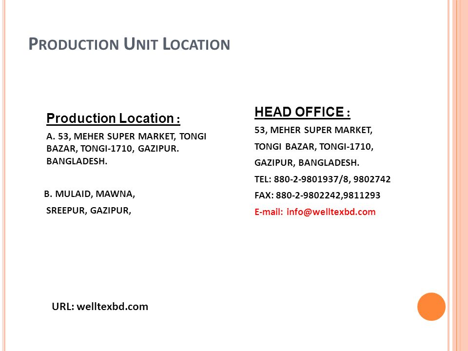 COMPANY PROFILE OF WELL TEX GROUP  - ppt download
