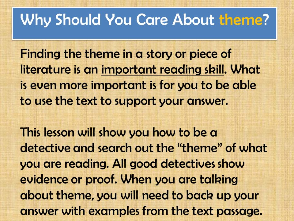how to identify theme