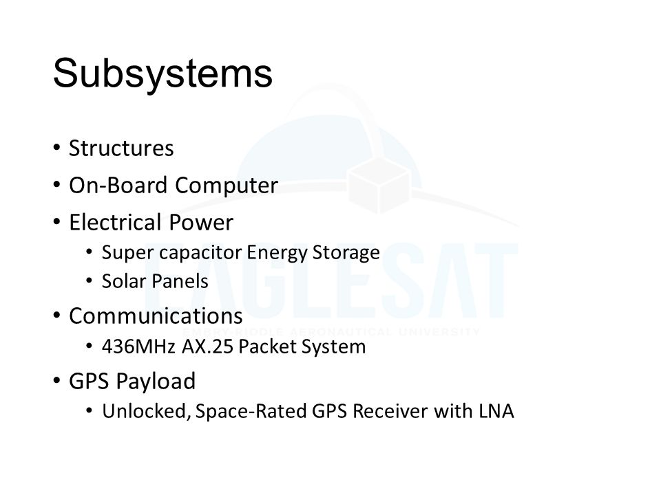 Subsystems Structures On-Board Computer Electrical Power