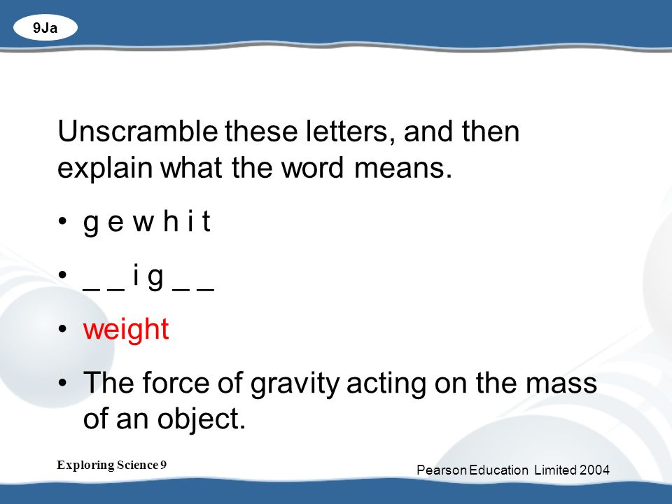 unscramble these letters what is gravity and why is it so important ppt 169