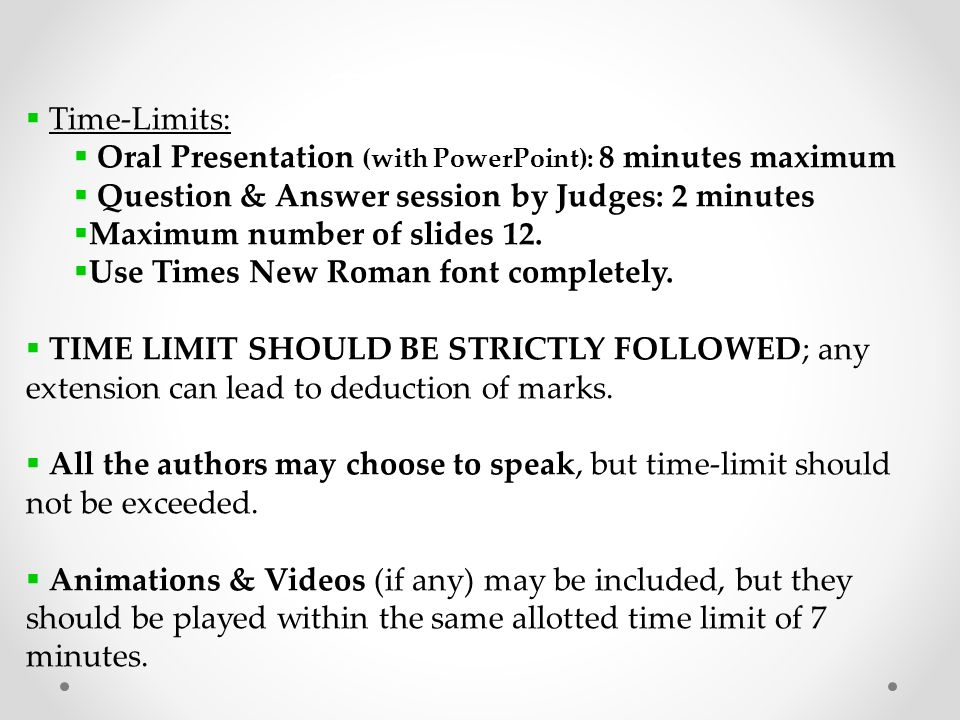 Technical paper presentation ppt video online download 2 time limits malvernweather Choice Image