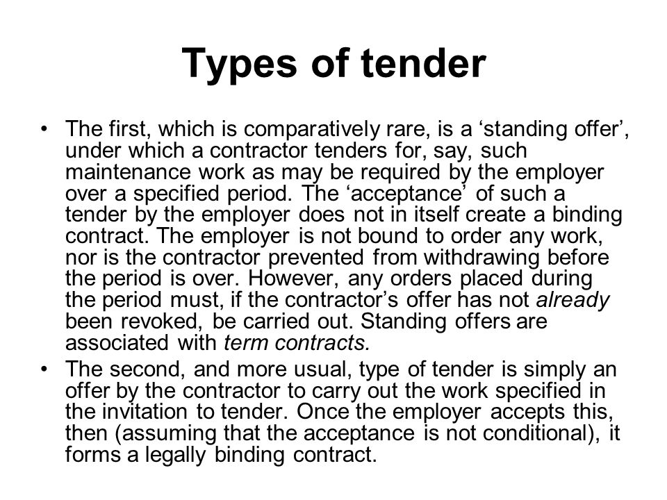 Tendering and contract formation - ppt video online download