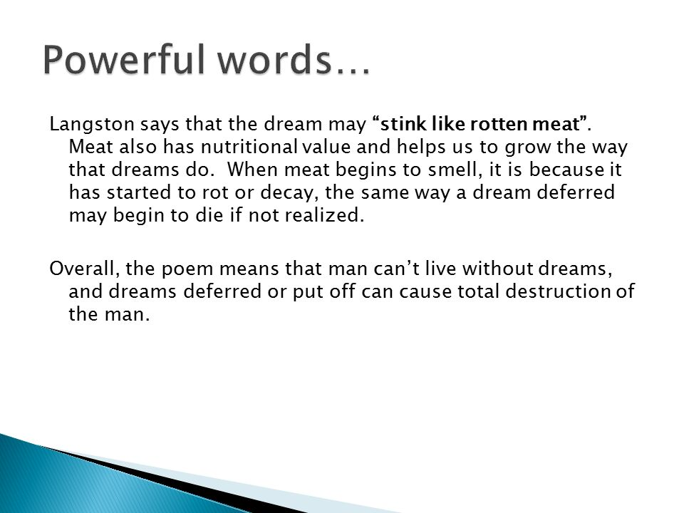 what does the poem a dream deferred mean