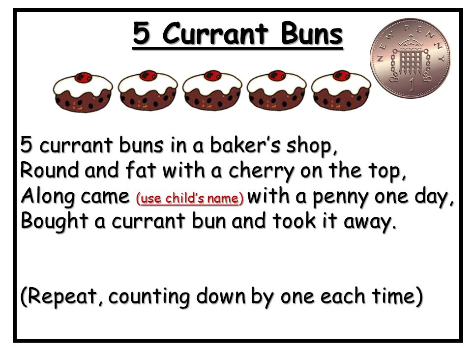 Image result for 5 currant buns words